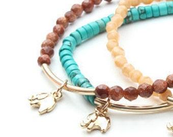 Lucky Elephant Charm Bracelet, Goldstone, 14k Gold-Filled Tube, the Lucky Elephant Original