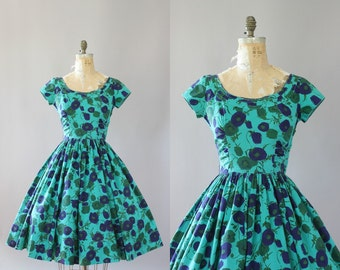 Vintage 50s Dress/ 1950s Cotton Dress/ Jerry Gilden Green Floral Cotton Dress w/ Full Skirt S/M