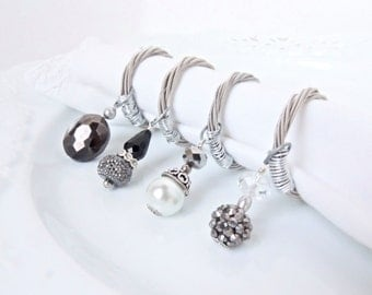 Guitar String NAPKIN RINGS -  Beaded Napkin Rings - set of 4 - silver napkin rings - upcycled/recycled - gifts under 25 dollars