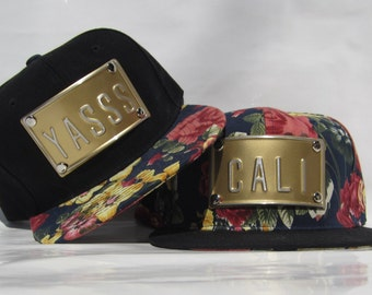 YASSS CALI metal floral snapbacks hat yass california snapback hats flower hat custom floral snapback floral snapbacks flower hat flower cap