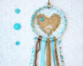 Pretty Dreamcatcher, Shabby Chic Lace Love Catcher, Nursery Decor, Baby Boy Gift, Turquoise & Tan