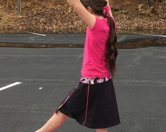 Girls Asymmetric Faux-Wrap ADJUSTABLElength modest swim skort and/or playground skort-Ultra CHLORINE RESISTANT option