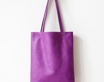 Spring SALE Purple Leather Tote bag No.Tl- 6102