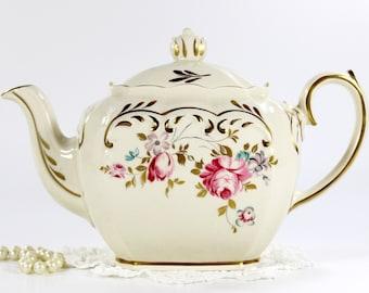 Sadler Cube Teapot, 1930s Sadler, Full Sized Tea Pot, 4 Cup Pots, English Porcelain Tea 12674