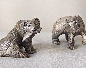 Vintage Pewter Bears Miniature Figurines 1990s