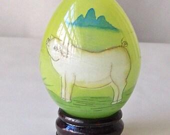 Vintage Églomisé Glass Egg Hand Painted Piggy Glass Egg Easter Egg Gift Oriental Art Vintage 1980s