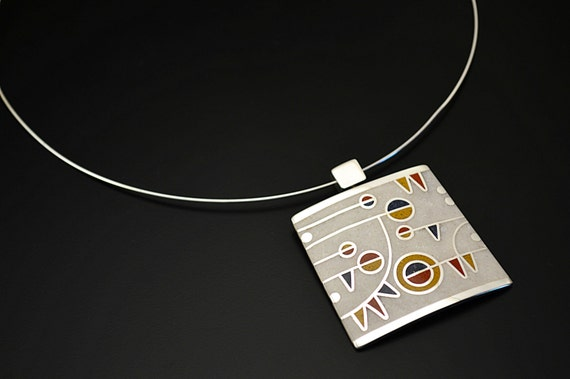 Sterling Silver Pendant, Geometric, Statement, Necklace, Modern, Contemporary, Color, OOAK