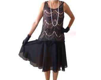 Retro 1920s Dress, Great Gatsby Dress, Flapper Dress, Flapper Costume,Roaring 20s Dress,Downton Abbey Dress,BlackFlapper Dress,Lace Dress