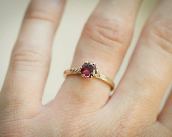 18k Yellow gold and Pink Spinel - ready to ship