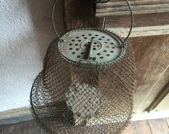 Eco Friendly, Fisherman's net, vintage french bourriche, fishing net, vintage candleholder, antique lighting, gift for him, unique gift