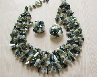 Japan Necklace and Earring Set Vintage Green Shell Japan Necklace and Earrings