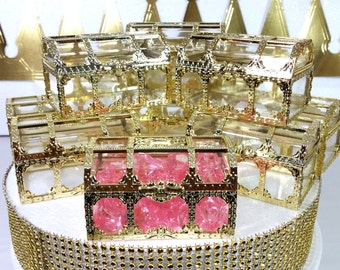 12 NEW Gold Treasure Chest Favors Girls Little Princess Or Royal Baby Shower