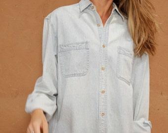 oxford faded BLUE vintage 80s 90s denim TWIN PEAKS leo shirt