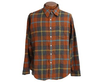 Vintage Burnt Orange Flannel Shirt DQ Manhattan Size XL