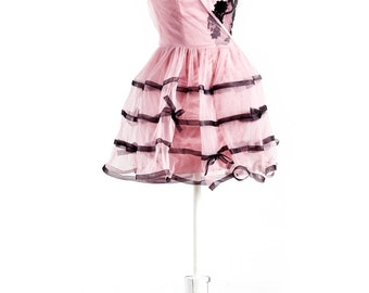 Fairytale Romance! Playful Beautiful Layered Tutu Dress in Dreamy Pink with Asymmetric Neckline