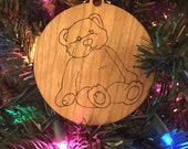 personalized bear christmas ornament // wooden ornament // holiday decoration