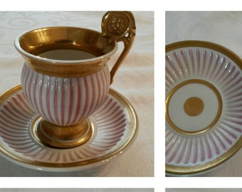 Royal Vienna Style Tea Cup and Saucer; 19th Century; Purchased And Decorated In France circa 1890   #DSC
