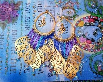 Colorful Purple, Blue, Aqua Spiritual Om Symbol Chain Earrings, Antique Gold Aum Jewelry, Hindu, Buddhist, Self Realization, Hoops, Crystal