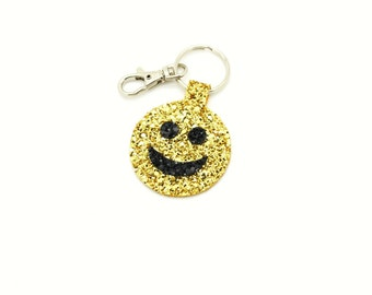 Gold Glitter Fabric Kitsch Smiley Face Emoji Round Circle Key Ring Key Chain Clutch Hand Bag Charm Birthday Gift Idea