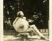 "Vintage Photo ""Hidden Nudist"" Snapshot Photo Old Antique Photo Black & White Photograph Found Paper Ephemera Vernacular"
