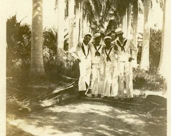 "Vintage Photo ""Palm Tree Soldiers"" Military Navy Sailor Snapshot Photo Antique Black & White Photograph Found Paper Ephemera Vernacular - 62"