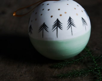 large Christmas bauble, white green gold porcelain Christmas tree ornament, luxe modern minmalist decoration, work colleague boss gift
