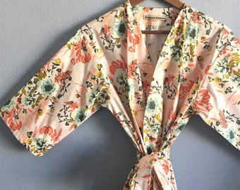 Peach Kimono Robe. Kimono. Bridal Robe. Peach Bridesmaid Robe. Wild Pink Posies. Knee or Mid Calf Length. Small thru Plus Size 2XL.