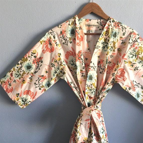 Mid Calf Peach Kimono Robe. Peach Bridesmaid Robe. Kimono. Bridal Robe. Wild Pink Posies. Mid Calf Length. Small thru Plus Size 2XL.