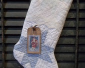 Sweet Prim Handmade Cutter Quilt Stocking with Tag - Winter and/or Holiday Decor
