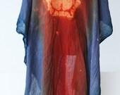 cotton kimono, asian style, grey orange ombre robe