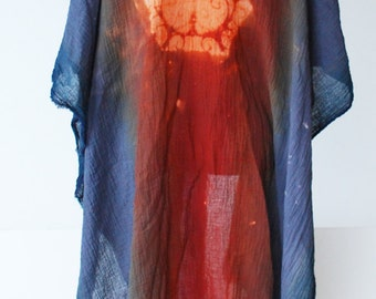 cotton kimono, asian style, grey orange ombre robe