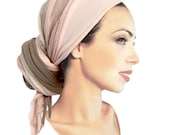 Pink Taupe Beige Infinity Scarf Chunky Knit Shawl Head Wrap Tichel Hair Loss Bad Hair Day Ivory Off White Warm Winter Scarf Women ShariRose