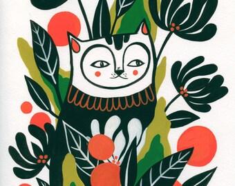Mossy Cat- Fine Art Print 8x10