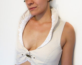 Burlesque Woven Vest w Back Lacing, Lace and High Collar - Steampunk, Bellydance, Festival Clothing