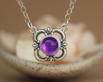 Purple Amethyst Victorian Fleur de Lis Necklace in Sterling - Silver Fleur de Lys Pendant with Chain with Stylized Flower Details