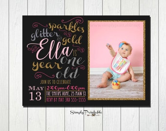1st Birthday Invitation, Pink Faux Glitter Gold Silver, Sparkles Glitter Gold Invitations, First Birthday for Girls