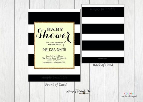 Baby Shower Invitation, Black and White Striped, Yellow,  Gender Neutral Shower Invite, Bridal Shower