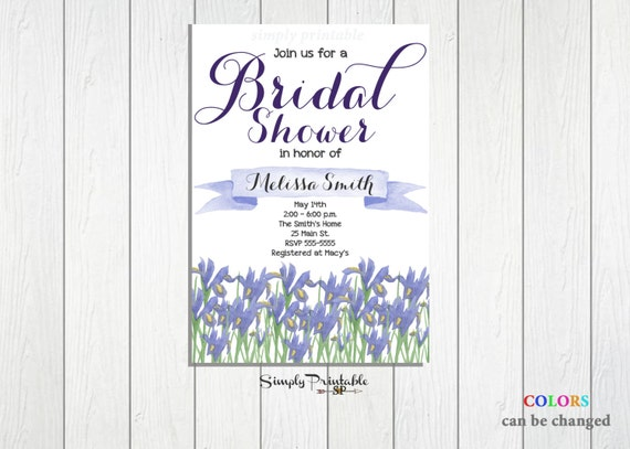 Lilac Bridal Shower Invite, Watercolor Floral Shower Invitation, Purple Watercolor
