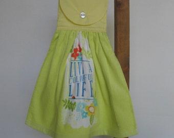 "Yellow Kitchen Tea Towel LAST ONE ""Live a Colorful Life"" Hanging Kitchen Towel Yellow Green Towel Summer Flowers SnowNoseCrafts"