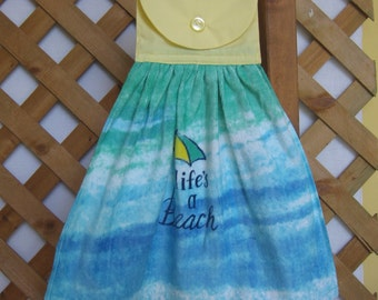 Life's a Beach Hanging Kitchen Towel, Beach Kitchen Decor, Beach House Towel, Hanging Dish Towel, Kitchen Towels, Hand Towel SnowNoseCrafts