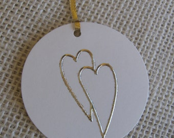 Gold Heart Gift Tags, Double Heart Gift Tags, Beige and Gold Gift Tags, Set of SIX, Wedding Tags, Anniversary, Love Gift Tags SnowNoseCrafts