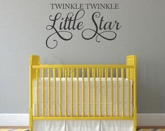 Baby Nursery Wall Decal Twinkle Twinkle Little Star Decal Baby Bedroom Wall Decal Kids Bedroom Wall Decal Playroom Decal Children Bedroom
