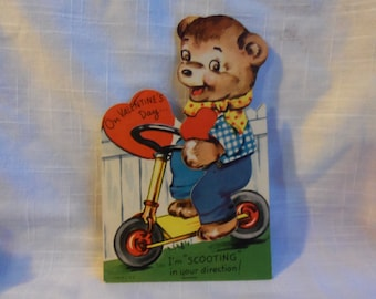 Vintage Valentine Bear on Scooter USA 40s Mechanical
