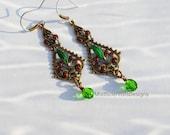Moroccan Boho Spanish Red Green Filigree Holiday Earrings