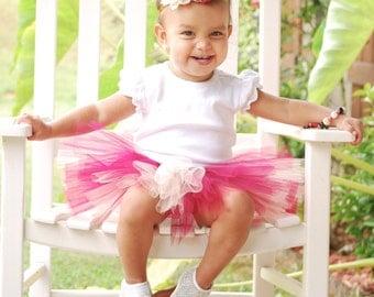 Oklahoma Sooners Baby Tutu Crimson and Cream with Flower Headband - Indiana Hoosier Baby Tutu Set - Oklahoma Baby - Toddler Tutu - Tutu Set