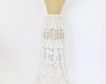 1880s Victorian Lace Skirt with Train (AS IS)
