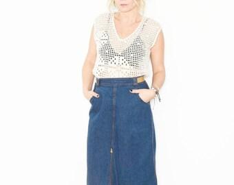 Vintag Denim Midi Skirt , 70s Jean Skirt