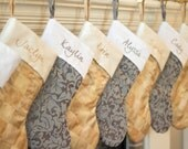 Personalized Christmas Stockings. Gold Champagne with Ivory Cuff Christmas Stockings. Limited Edition Christmas Stockings! Silver gray