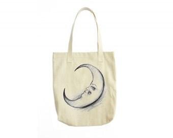 Crescent Moon Tote Bag, Canvas Tote Bag, Moon Bag, Moon Illustration, Tote Handbag, Gift For Women, Womens Fashion, Womens Gift, Girl Gift
