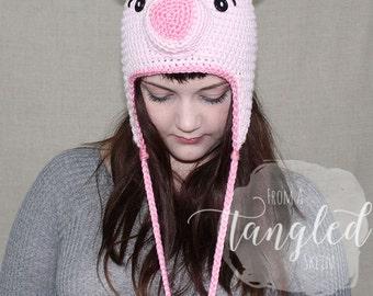 Crochet Pig Hat / PIGGY EARFLAP